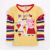 Wholesale F4109 Yellow Nova kids clothes m y baby girls t shirts hot peppa pig embroidery cotton long sleeve tops for spring autumn