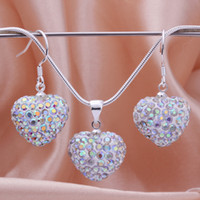 Wholesale New Arriver CZ Disco Heart Crystal Ball Bead Pendant Necklace mm inch Snake Chain Drop Earring Mix Color Free