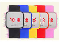 Wholesale LED Mirror Watch Colorful Plastic Face Silicone Watch Soft Bands Red Light Sport Watch
