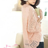 Wholesale European Style Knitwear sweater Cardigan Hollow Crochet Shawls Bat Sleeves Loose Women Knitwear QJ012