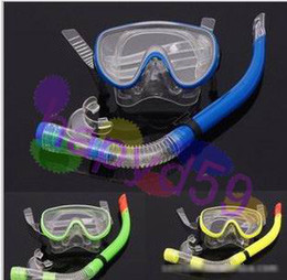 Wholesale 1set free ship tempered glass goggles Semi dry snorkel diving Tube Set diving snorkeling equipment set swimming goggles