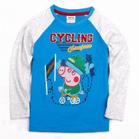 Wholesale Christmas Nova brand kids clothing autumn winter baby boys t shirts hot Peppa Pig designer clothing cotton long sleeve gray sweater
