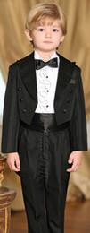 Wholesale Pinstripe Suit Back Formal Boys Kids Pinstripe Tow buttons Straight pockets Wedding Party Suit Tuxedo Jacket vest Pants