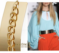 Wholesale lady Full Metal Mirror Waist Belt Metallic Gold Plate Wide Obi Band With Chains