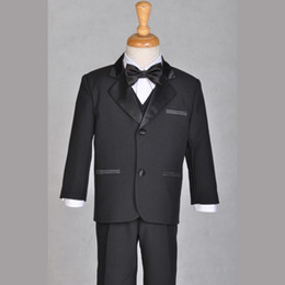 Wholesale Back Formal Occasion Boys Kids Pinstripe Tow buttons Straight pockets Wedding Party Suit Tuxedo Jacket vest bow Pants