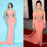 Sleeveless award choice - Demi Lovato Strapless Peach Chiffon Gown Celebrity Dress People s Choice Awards Sexy prom gowns