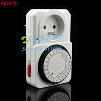 Wholesale 4pcs New EU Plug Hour HR Mains Plug In Timer Switch Time Clock Socket TK0561