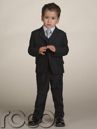 Wholesale Formal Occasion Boys Kids PinstripeTwo buttons Straight pockets Wedding Party Suit Tuxedo Jacket vest Pants
