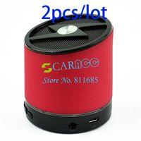 Wholesale 2pcs New Red HiFi Hands free Handsfree Mic Music Playe Portable Wireless Stereo Mini Bluetooth Speaker