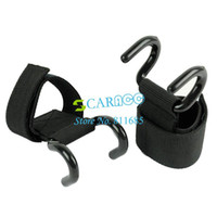 Wholesale 2 x Black Power Double Hooks Weight Lifting Hook Bodybuilding Wrist Straps Support Chin Up Bar Strength Training