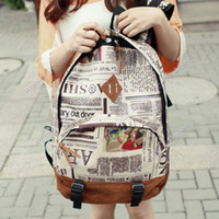 Backpacks newspaper bags - New Fashion Unisex Canvas Newspaper Design Print Backpack Schoolbag Shoulder Bag