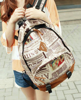 Wholesale 3pcs New Fashion casual Unisex Canvas Newspaper Design Print Backpack Schoolbag Shoulder Bag