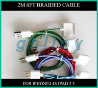 Wholesale Usb fabric braided cable for iphone S G ipad ipod charging amp date sync color M FT
