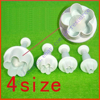 Wholesale 4x DIY Plum Flower Plunger Cutter Mold Sugarcraft Fondant Cake Decorating Tool