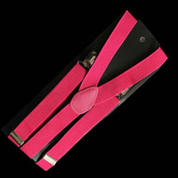 Wholesale Unisex Clip on Braces Elastic Y back Suspenders rosered