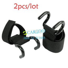 Wholesale 2pair double hook Black Weight Lifting Hook Training Gym Hook Grips Straps Gloves Wrist Support Lift