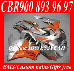 Fairing kit for HONDA CBR900RR 96 97 CBR 900RR CBR900 CBR 900 RR 893 1996 1997 orange silver Fairings body kit+7gifts Hx24