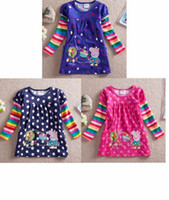 Wholesale ChristmasTOP quality color arrival Hot Peppa pig Nova kids wear polka dot overall printed baby girls cotton long sleeve tunic tops t sh