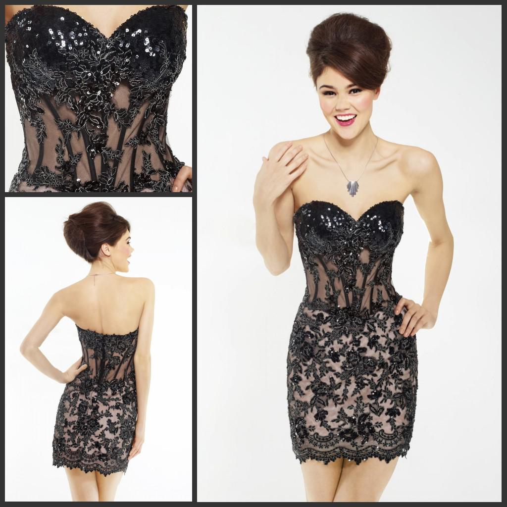 2015 Black Cocktail Dresses Sexy Bling Bling Sequined Sweetheart ...