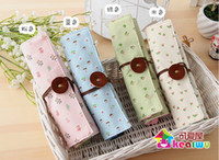 Wholesale Small Fresh Garden Style Floral Curtain Roll Pencil Stationery Pen Pouch Cosmetic Bag L201