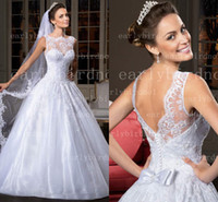 Wholesale 2014 Spring Summer Sexy New Sleeveless Organza A Line Wedding Dresses Applique Beaded Crystals Bow Bridal Gown With Buttons Back LT02