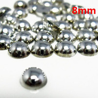 Wholesale 8mm silver coating color half round pearls for nail art