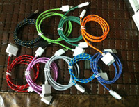 Best 100pcs USB Data Sync Cable 1M 2M 3M Fabric braided wire charge line Woven Fiber Knitted Nylon Cords for iphone4 ipad with retal package