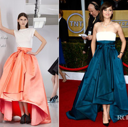 Wholesale Marion Cotillard SAG Awards Two Colors Combination Hi Lo with Bow Belt Celebrity Red Carpet Gowns Prom Dresses dhyz