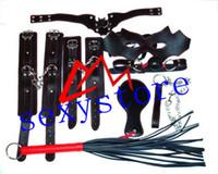 Cheap leather PU Sm sex toys alternative handcuffs ankle bracelets collar belt clip plug patch cord bound sets