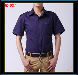Wholesale Short Sleeve Mens Cotton Shirts Classic Men Fashion Slim Fit Lapel Shirt Purple Mens Clothes