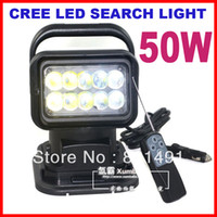 Wholesale 7 quot W CREE LED W Search Light Spot Beam Wireless Remote Control Magnet Base Degree Rotating Left Right V lm Off Road Lamp