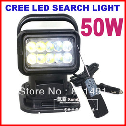 """7"""" 50W CREE 10-LED*(5W) Search Light Spot Beam Wireless Remote Control Magnet Base 360 Degree Rotating Left Right 9-48V 6500lm Off-Road Lamp"""