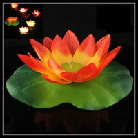 Wholesale Wishing Light Lotus lamps Paper Flower Water lily Wish Lantern Water Floating Candle Light Yellow For Wedding Parties Birthday hot sale