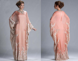 Wholesale Abaya Kaftan Dubai Peach Long Sleeves Cheap Evening Dress Chiffon Lace Appliqued Long Sleeves Lace formal Women Gown Evening Gowns JQ3309