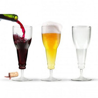 Wholesale BEER DEAUX upside down beer bottle style glass wine cup beer cup Champagne cup