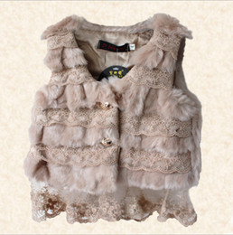 Wholesale Baby girls coat kids children sleeveless Waistcoat lace fur vest girl jacket sylvia