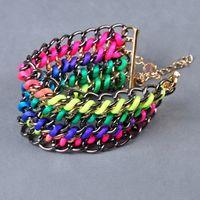 Wholesale Womens Mens Cuff Bracelets Jewelry Fluorescence Ropes Chains Wrap Bangles Bracelet Fashion