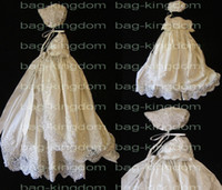 Wholesale Christening Girl gown Ivory white silk with applique beaded and fit hat Custom made size