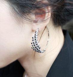 Wholesale New Fashion Clear Black White Rhinstone Crystal Circel Hoop Earrings Nightclub Basket Wives Hoop Earring LT2