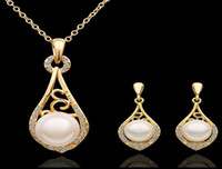 Women's 18k gold - Fashion pearl jewelry sets New Arrival K Gold Plated Pearl Jewelry sets Necklace earring S317 with tracking number
