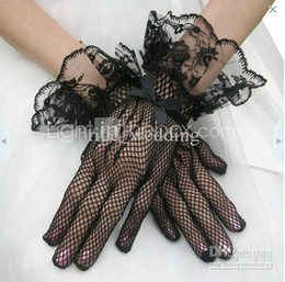 Wholesale Cheap Black and White Sheer Tulle Bridal Gloves Wrist Wedding Gloves Fingers Lace Hemming Bow Gloves