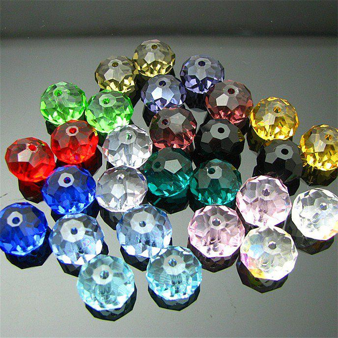 200Pc / Lot 6MM Couleur de mélange Trou à travers Crystal Pendant Roundle Perles