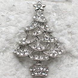Wholesale Crystal Rhinestone Christmas tree Pin Brooch Christmas gifts Fashion Costume Brooches jewelry gift C442