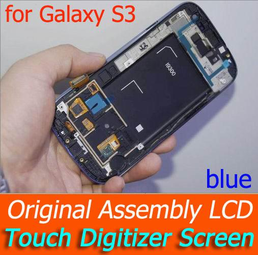 Buy DHL I9300 LCD Touch Digitizer Screen Original Assembly frame Samsung Galaxy S3 Assembl blue/white/black