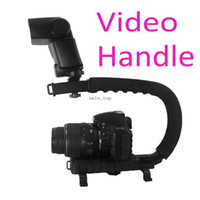 Wholesale C Shape flash Bracket holder Video Handle Handheld Stabilizer Grip for DSLR SLR Camera Mini DV Camcorder