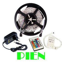 Wholesale 5M RGB LED Strip Light Flexible SMD Non Waterproof DC V IR Remote Controller A Power Supply Stage Party Bulb Christmas Gifts
