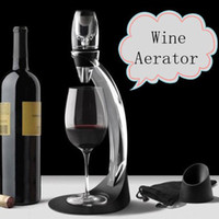 Wholesale 16 Sets DHL High Quality Quick Magic Red Wine Decanter Gift Set Wine Glass Aerator Tower With Retail Package