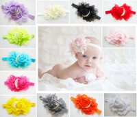 Wholesale By DHL Latest Colors Baby Girl Pearl Headbands Big Chiffon Roses Head Flower Headbands Hair Accessories Hairpin