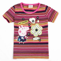 Wholesale Christmas m y Nova Kids summer wear baby t shirts cotton short sleeve hot peppa pig embroidery stripe t shirts for girls