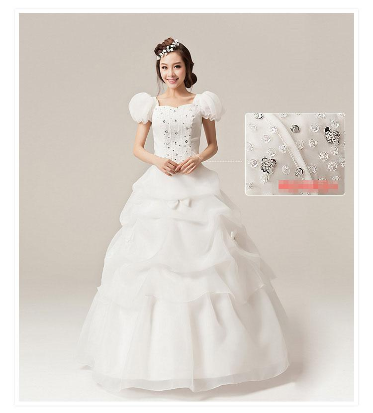 Princess a line slim bride wedding dress puff sleeve for Puff sleeve wedding dress